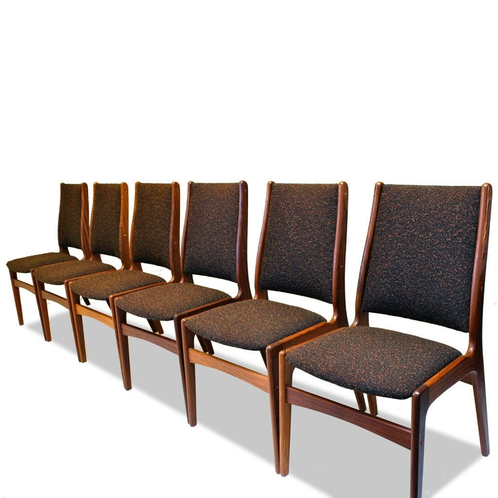 set of 6 teak dining chairs attributed to eric buck 1960s