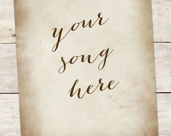 Wedding Song Lyric Art:  Anniversary Gift - Wedding Gift - Your Song Here - Made To Order - Photo Print