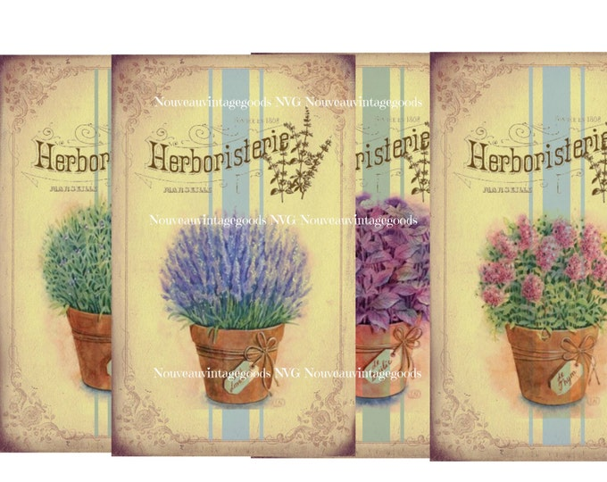Digital Collage Sheets, French Inspired Herbs Botanical Illustration, Shabby Chic, Printable, Instant Download, Scrapbook Supply