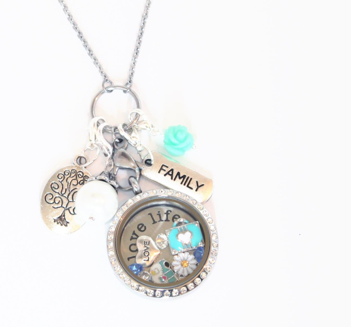 family travel floating locket and charm collection for