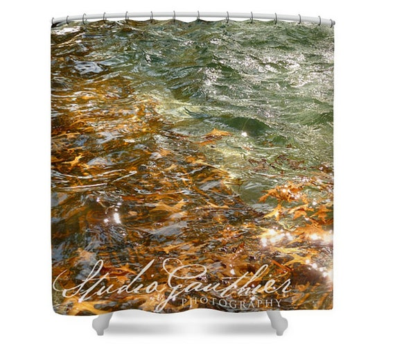 Green water gold shower curtain   autumn leaves   Home decor   nature photo   Earth water feng shui   photo on metal