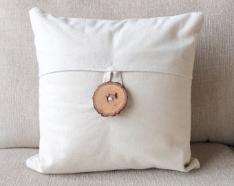 Home decor, decorative pillow cover, pillow covers, rustic wedding, home & living, housewarming gift, hostess gift, tree branch, wood button