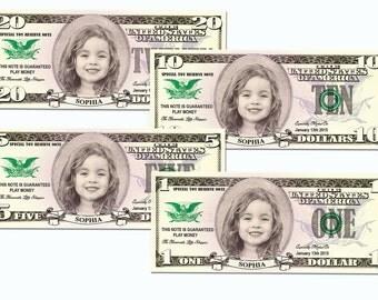 Personalized Custom Play Money Dollars - 10 of each 1, 5, 10, 20 dollars