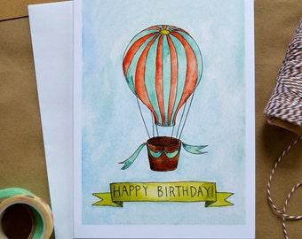 Kids' Birthday Card/ Watercolor Birthday Card/ Children's Birthday/ Kids' Art/ Illustrated Birthday Card/ Hot Air Balloon Card- 5x7