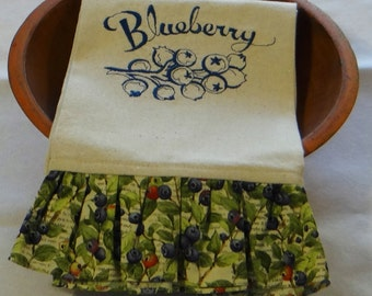 Fresh Blueberries Ruffled Tea Towel Dish Towel Kitchen Towel