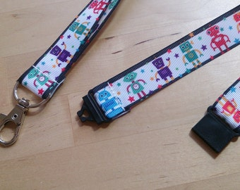 Robots Ribbon Lanyard / ID Badge Holder