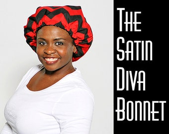 "Premium Satin Hair Bonnet, sleep bonnet,""Chevron Red"""