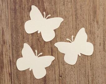 Butterfly Die Cuts - Cream Paper Butterflies - Card Stock Butterfliess - DIY Tags - Baby Shower - Wedding
