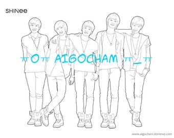 SHINee Kpop Lineart Coloring Page