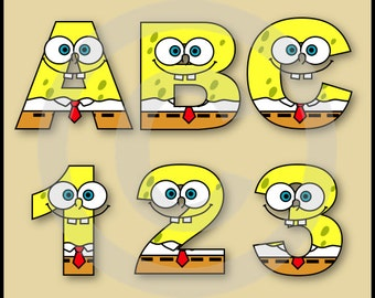 Spongebob Alphabet Letters & Numbers Clip Art Graphics