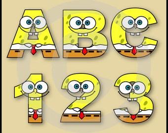 Spongebob Alphabet Letters & Numbers Clip Art Graphics
