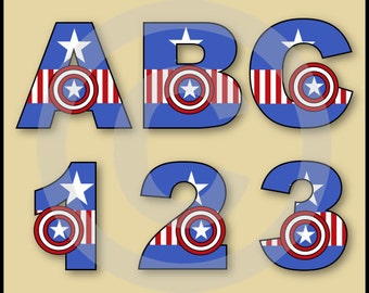 Captain America (Avengers) Alphabet Letters & Numbers Clip Art Graphics