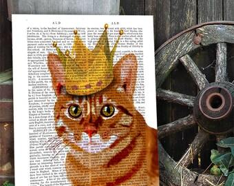 King of cats: ginger cat print cat poster, cat decor, cat illustration, cat picture, cat gift, cat lover, cat print cat art, wall art