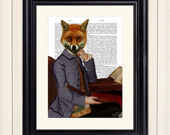 Fox Print with Flute Art Print Acrylic Painting Giclee Mixed Media Fox Painting wall art wall decor Wall Hanging Fox Picture illustration