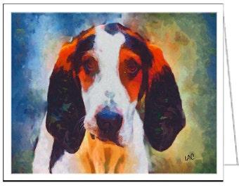 Treeing Walker Coonhound - Set of 6 Blank Notecards and Envelopes