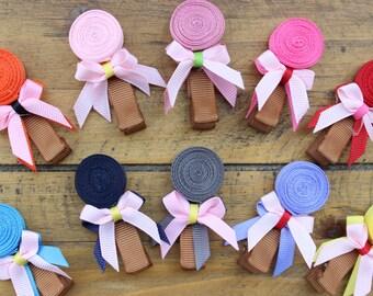 Lollipop Hair Clip, Pink Lollipop Ribbon Hair Clip, Candy Hair Clip,
