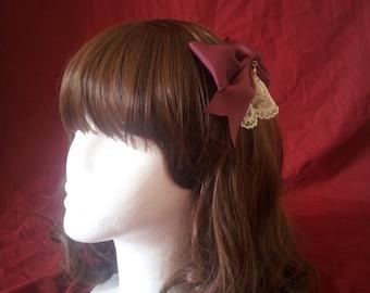 Lolita lace bow hair accessory swarovski headdress Wine red