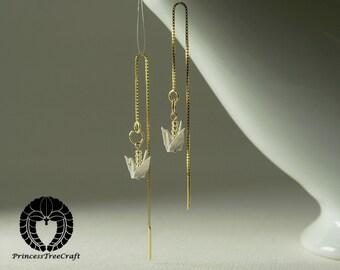 Threader earrings, Tiny origami crane threader earrings - White crane