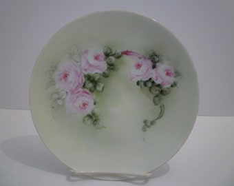 China Plate. Handpainted. Roses. Cottage Chic Decor. Wall Decor. Hand-Painted. Gorgeous Handpainted Roses. Vintage Bavarian China Plate