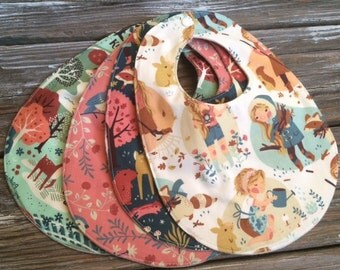 ORGANIC Baby/Toddler Bibs ~ You Choose 1 or All 4! ~ Nature//Deer//Birds//Woodland//Natural//Hike//Animals//Acorn Trail