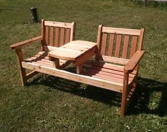 Outdoor Cedar 2 person chair W/ Center Table