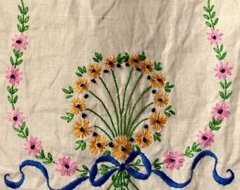 Hand Embroidered Dresser Scarf- Lace Edged Table Runner- Multicolored Flowers Blue Ribbon- 1940s Table Linen - Shabby Chic Decor