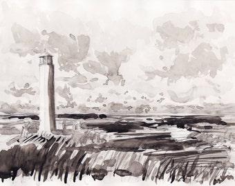Lighthouse landscape II original watercolor, original landsacape, sepia watercolor, Texel landscape, netherlands art, original wall art deco