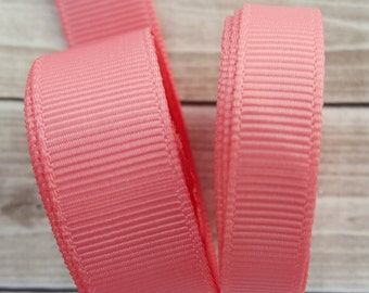 3/8 or 5/8 inch CORAL grosgrain ribbon