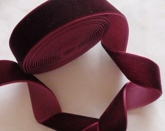 5 yards 3/4 inches Velvet Ribbon in Wine  RY34-238