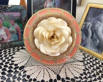 Champagne Color Rose with Gold tips on a Gold and Apricot Frame. ONLY ONE