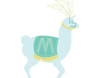 Custom Letter Circus Llama