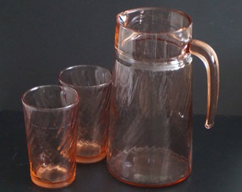 Vintage, Arcoroc Pink Swirl Glass Pitcher with Two Glasses