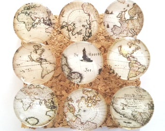 Map Push Pins, Vintage Maps, World Travel, Decorative, Glass Push Pins, Old World Maps, Office, Children, School Push Pins, Decorated Tacks