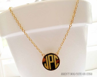 Monogrammed Necklace Tortoise Shell Style