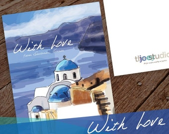 Greece Greeting card, With Love Travel Greeting Card, With Love from Santorini, Greece 5x7 card blank inside with white envelope.