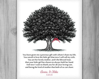 Mother of Bride Gift from Groom or Gift to Parents, Poem for Mother In Law to Be Personalized Print Black White Red