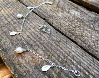 Sterling silver bracelet personalized with initials and pearls, personalised silver initial bracelet