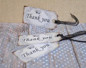 Vintage Thank You Tags:  Elegant Crown Design, Birthdays, Showers, Any Occasion - set of 6