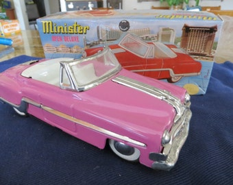 Vintage Tin Friction Pink Cadillac Convertable Toy Car with Original Box