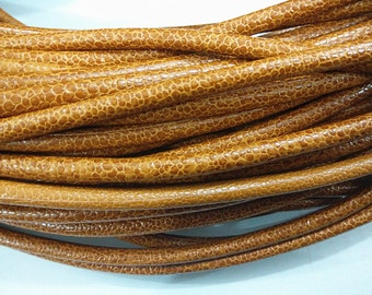 5mm PU Leather Cord Brown Color Snake Skin Vein String  - Wholesale Leather Cord-0001