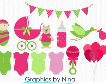 INSTANT DOWNLOAD   Girl Babyshower  Clipart  Scrapbook for Personal and Commercial use
