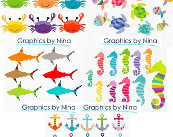 INSTANT DOWLOAD   Under the Sea Clipart Bundle Scrapbooking Personal and Commercial Use