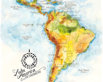 Latin America & the Caribbean Map // ILLUSTRATION // 11x14