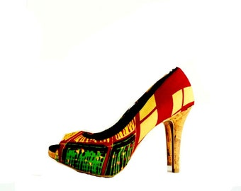 African Print Peep Toes Shoes, Multi-Color Pattern, African Fabric Platform Shoes -Platform Wedding Shoes -High Heels - Platforms