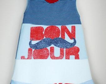 Upcycled Mustache dress, Bon Jour, summer dress, birthday dress, size 5