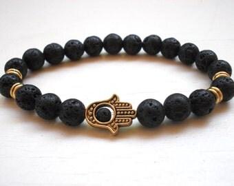 Men Hamsa bracelet, Hamsa Lava bracelet, Hamsa bracelet, Gold Hamsa bracelet, Lava Hamsa bracelet for men, Unisex Hamsa bracelet,Fatima Hand