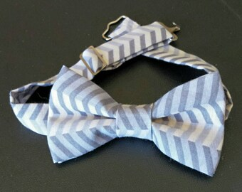 Grey Chevron Boys Bowtie
