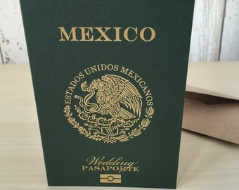 Personalised Passport Wedding Invitations Mexican Mexico Destination Abroad Travel Beach