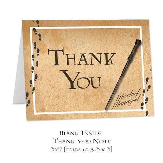 Harry Potter Thank You Note Blank Inside Instant Download