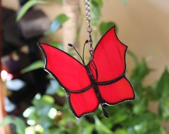 Stained Glass Red Butterfly,Colorful Suncatcher,Handmade,Gift for Mom,Home Decor,Garden Decor,For the Porch,Butterfly Lover,Nature Art